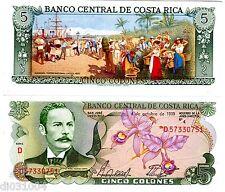 Costa Rica Billet 5 Colones 1989 P236 FLEURS YGLESIAS CASTRO PORT NEUF UNC