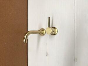 Burnished brushed brass Gold rose gold matte black wall mixer 100 / 150 mm spout