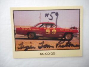 Tiger Tom Pistone signed 1990 MOR #59 PONTIAC *GO-GO-GO GN/WC Yellow CARD #209