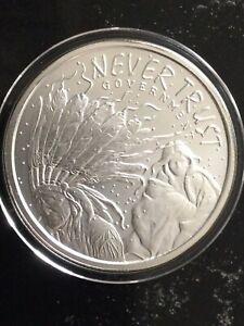 2014 1 oz Silver Shield Never Trust Government BU Silver Round