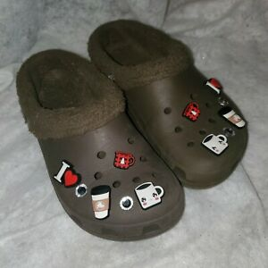 Crocs Classic Mammoth Clog Removable Liner I love coffee Charms w7 m5