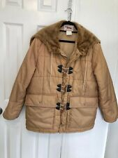 Vintage ENVOY Parka Jacket Coat Freezing Temperatures Tan Large Zippered Hood
