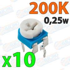 10x Potenciometro 200K ohm 1/4w 0,25w horizontal resistencia variable PCB