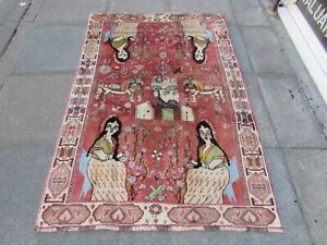 Vintage Traditional Hand Made Oriental Gabbe Wool Red Rug 176x120cm Pictorial