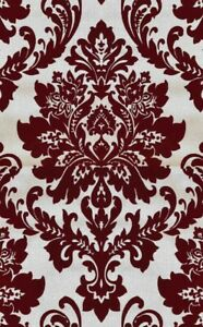 Exclusive Havana Velvet Flock Red with Gold Damask Wallpaper (H66008)