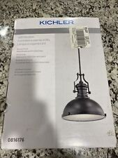 Kichler Led Pendant Bronze Farmhouse Metal Shade with Frosted Glass Light 816176