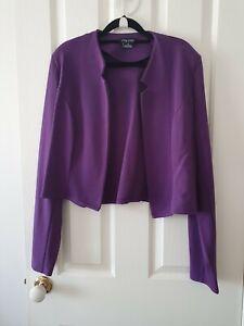 City Chic Purple Crop Pleated Blazer Jacket Size M