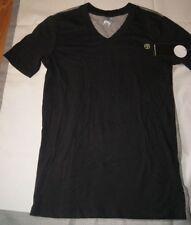 Zumba Men T Shirt Black Gray Two Tone V Neck Short Sleeves Cotton Size S NWT