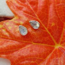 Mondstein blau weiß Edelstein modern Ohrringe, Ohrstecker, 925 Sterling Silber