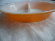 VINTAGE RETRO ORANGE GLASS AGEE PYREX DIVIDED SERVING COOKING DISH