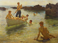 Oil painting Henry Scott Tuke - gay Nude young boys on canoe morning splendour