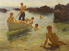 Oil painting Henry Scott Tuke - gay Nude young boys on canoe morning splendour
