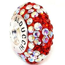 Alducchi  Ruby Red - Rainbow AB wave Crystal .925 Silver European Charm Bead
