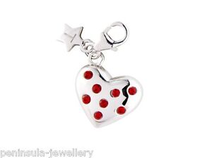 Tingle Sterling Silver Charm clip on Crystal Heart with Gift Bag and Box SCH181