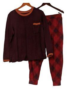 Cuddl Duds Women's Sz M Fleecewear Stretch Jogger Pajama Set Purple A381825