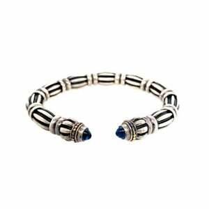 Lagos Caviar Onyx Hinged Cuff Bracelet Silver 18k Retails $725