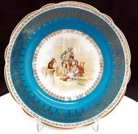 """IMPERIAL CROWN CHINA COUPLE WITH CAT TURQUOISE & GILT 8 1/2"""" CABINET PLATE 1883"""