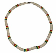 """Beach 18"""" Coco Bead Rasta Necklace Surfer Choker Natural Red Yellow Green"""