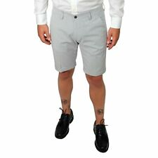 Bermuda Uomo Cotone a Righe Blu Slim Pantaloncino Shorts Denim Eleganti