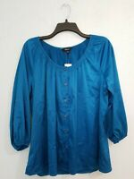 NWT $49.50 Express Women's Blouse 3/4 Sleeve Button Up Scoop Neck Blue.Size M