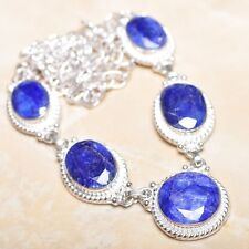 "Handmade Blue Sapphire Gemstone 925 Sterling Silver Necklace 20"" #N00904"