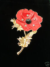 POPPY BROOCH  WITH ENAMELLED PETALS ADORNED WITH CRYSTALS
