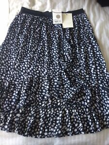 Lollys Laundry Midi Skir Bertha Printed Black/navy/light Pink t Size XL-14-16UK