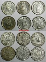 Switzerland Silver LOT OF 6 COINS 1903-1955 1/2 Franc  KM# 23