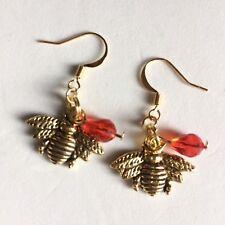 Austria Crystal Bee Charm Earrings Tibetan Gold
