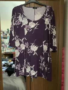 Yours Purple Floral Print Top - Sz 22/24
