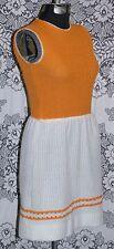 Vtg 60s Orange & Off-White Mini Mod Party Space Age Boho Knit Dress Crochet Trim