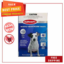 NUHEART Heartworm treatment for Dogs by Pharmachem 6 Tablets Up to 11 Kg Blue