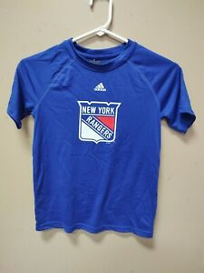 New Adidas NHL New York Rangers youth Climalite Shirt Blue Small 4563B