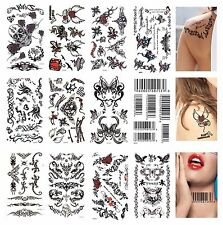 10-pcs Temporary Tattoo  Tribal Skulls Angel wings Barcode stars Roses Tattoos