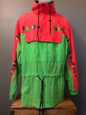 Vtg 80s Vuarnet Ski Snowboard Jacket Mens L Day Glow Neon Green Pullover Coat