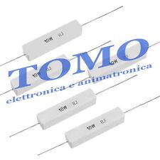 Lotto 3 Resistenze cemento 0,1 ohm R1 - 10w a filo di potenza