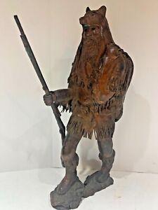R. C. HUNT Bronze Sculpture BEAR MAN RIFLE Western Art SIGNED GALLERY TEXAS ❤️