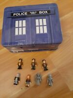 Dr. Who Tin Tote Lunch Box & Build A Character 50th Anniversary Figure Lot