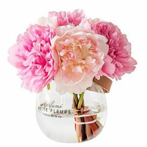 Artificial Flowers with Vase Fake Silk Peony Flowers in Glass Vase for Home New