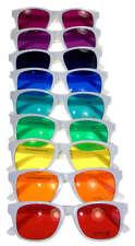 Hipster Mens Sunglasses Set of 9 White Frame color lenses Wayfarer Retro