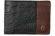 Nixon 242657 Mens Cape Leather Slim Wallet Brown/Black Gator
