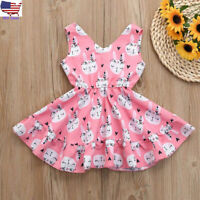 Cute Children Kids Baby Girl Easter Sleeveless Cartoon Party Princess Vest Dress