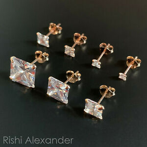 Rose Gold over 925 Sterling Silver Square Cubic Zirconia Clear CZ Stud Earrings