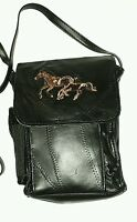 """real leather 6 1/2"""" x 8 1/4 embroidered messenger bag purse black w/ long strap"""