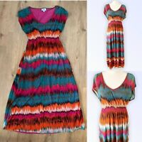 Millers 12 Fit 10 Dress Striped Tie Dye Fit Flare Stretch Waist Multi Midi Long