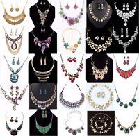 Fashion Women Choker Charm Pendant Crystal Chain Collar Bib Statement Necklace