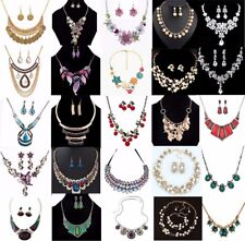 Fashion Women Choker Charm Pendant Crystal Chain Collar Statement Bib Necklace