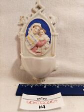 HOLY WATER FONT Antique porcelain Mother Mary & Child Religious Christianity