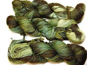 HELECHOS Painted Greens 150yd Skein Malabrigo SILKY MERINO Wool Silk LUXURY YARN