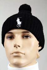 Polo Ralph Lauren Black Wool Beanie Hat Skull White Big Pony NWT